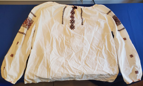 Embroidered Lightweight Ukrainian Vyshyvanka Blouse - Diamond Peasant Shirt