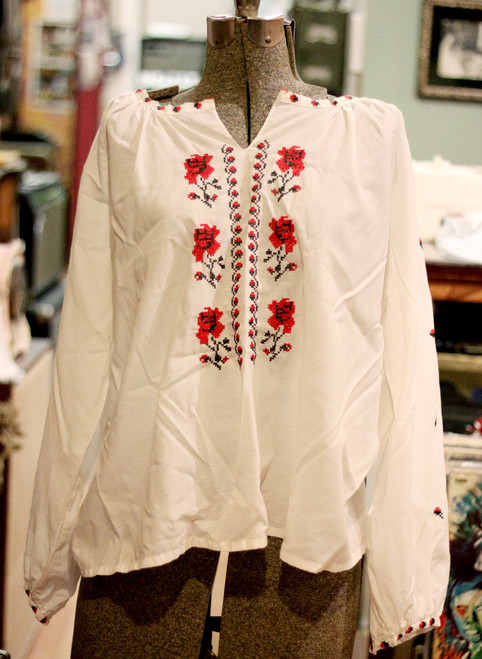 Embroidered Lightweight Ukrainian Vyshyvanka Blouse - Rose Pattern Peasant Shirt