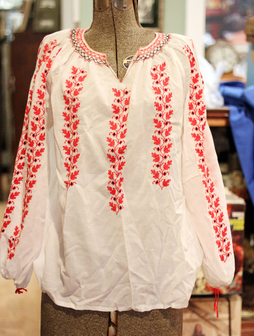 Embroidered Lightweight Ukrainian Vyshyvanka Blouse - Leaf Vine Peasant Shirt
