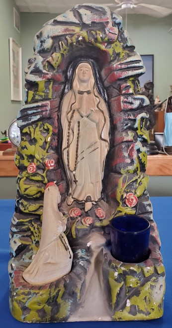 Antique VIRGIN MARY Grotto/Shrine/Altar Large Religious Blessed Mother Chalkware