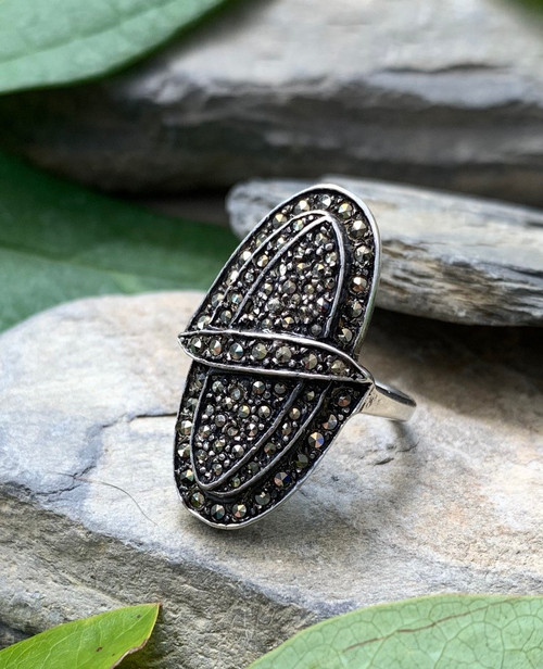 Antique Art Deco Sterling Silver Pave Marcasite Oval Statement Ring Size 6
