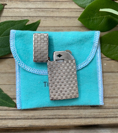 Vintage Tiffany Co Sterling Silver Basket Weave Cigarette Zippo Lighter W Pouch