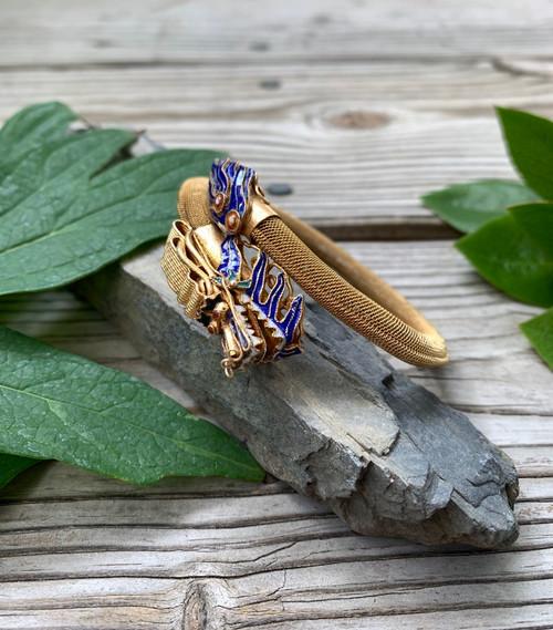 Antique Chinese Export Gold Gilt Sterling Cloisonne Enamel Dragon Bangle Bracelet