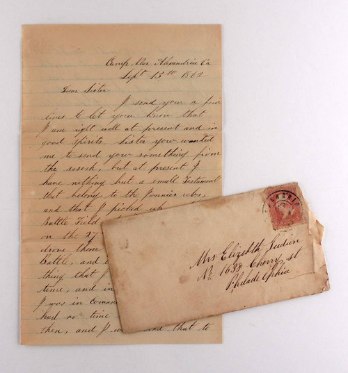 1862 Civil War Officer's Letter, NJ Vol. VA Sept -  Second Battle of Bull Run