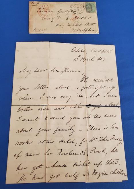 Civil War Era Letter from England to Philadelphia April 10 1861 -  Fort Sumter!