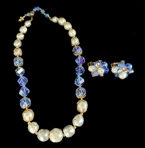 Vintage Vendome Blue Pearl Faceted Crystal Gold Tone Necklace Earring Set