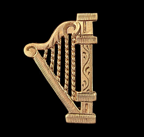 """Antique 10k Gold Victorian Dainty Etched Irish Harp Instruments Pin Brooch .75"""""""
