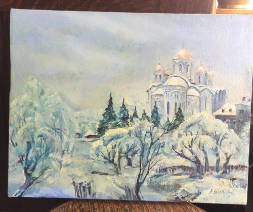 Vintage Russian Winter Scene Oil Painting Church of Christ the Savior Moscow Sgn