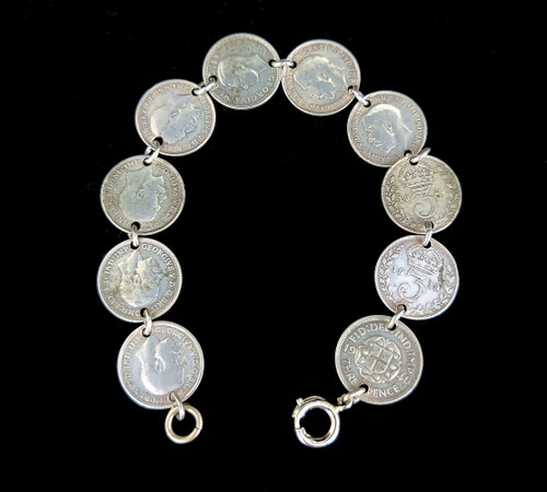 Antique Sterling Silver Trench Art WWI US Army 3 Pence Coin Link Bracelet 7""