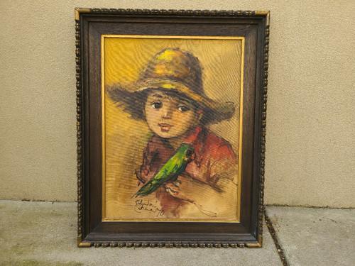 Salvador Cabrera Filipino O/C Painting Big Eyed Boy Parrot Bird Witco 1970 Frame