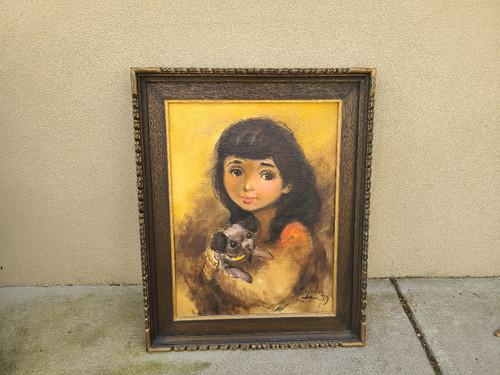 Salvador Cabrera Filipino O/C Painting Big Eyed Girl w Puppy Dog Witco Frame 1970
