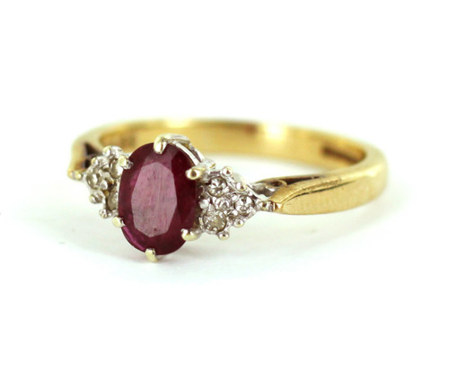 Vintage Art Deco 10k Yellow White Gold 1ct Ruby and .05ct Diamond Ring sz 7