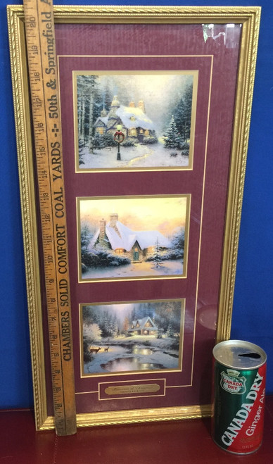 "Thomas Kinkade ""Memories of Christmas"" 3 Accent Prints Framed COA Lightpost"