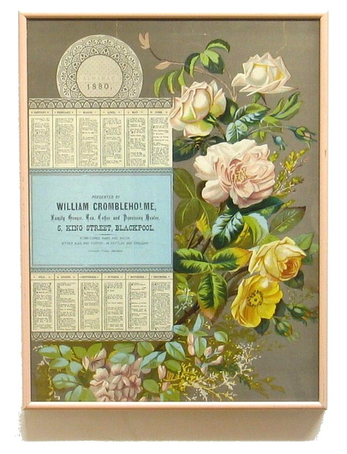Antique 1880  Advertising Chromolith Victorian Almanac Calendar Crombleholme
