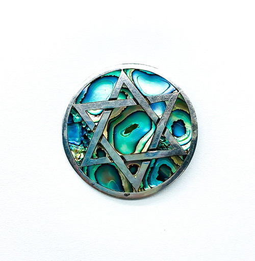 Vintage Taxco Sterling Silver Inlay Abalone Star Of David Judaica Pendant Brooch