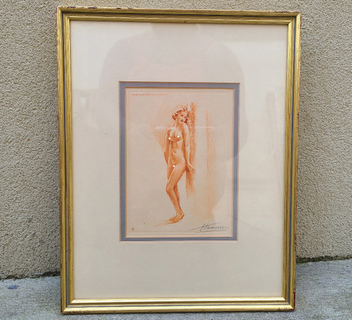 Art Deco Suzanne Meunier 1888-1979 Signed Etching Nude Pose Pin Up Woman Framed