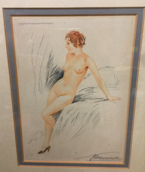 Art Deco Suzanne Meunier 1888-1979 Signed Etching Nude Pose Pin Up Woman Framed -1