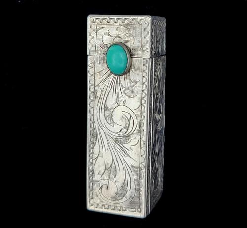 Vintage Deco Silver Turquoise Southwest Engraved Lipstick Holder Case w/ Mirror
