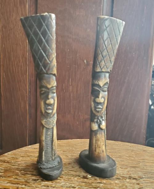 Vintage Carved Tiki Hawaiian Mid Century Antler Statue Candle Holder Pr Figurine