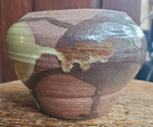 Vintage Terracotta Studio Pottery Wide Vase - Cool American Pottery Vase SL Sgn