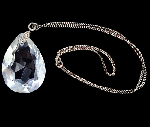 Antique Sterling Large Faceted Rock Quartz Focal Pendant Necklace