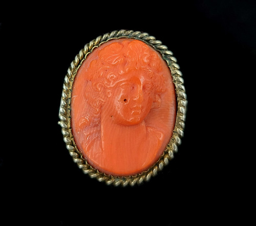 Antique Gold Filled GF Natural Red Orange Coral Hand Carved Cameo Pin Brooch 1""
