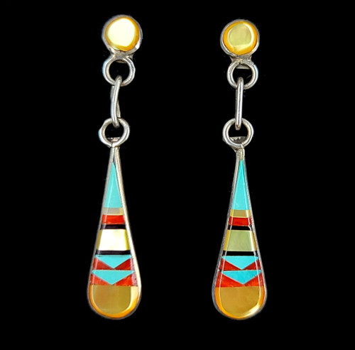 """Vintage Sterling Zuni Inlay Mother of Pearl Coral Turquoise Dangle Earrings 1.5"""""""
