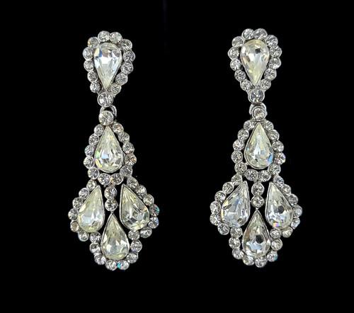 "Vintage Trifari Signed Crown Princess Rhinestone Drop Dangle Earrings 2.25"""