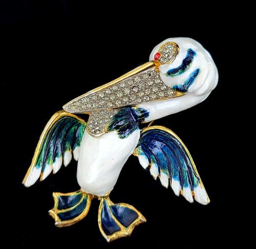 "Vintage Pelican Bird Enamel 60's Stylized Designer Pave Pin Brooch 3"""