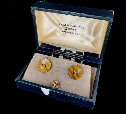 Vintage Christian Dior 12k Gold Filled Tigers Eye Cufflinks and Tie Clip Set