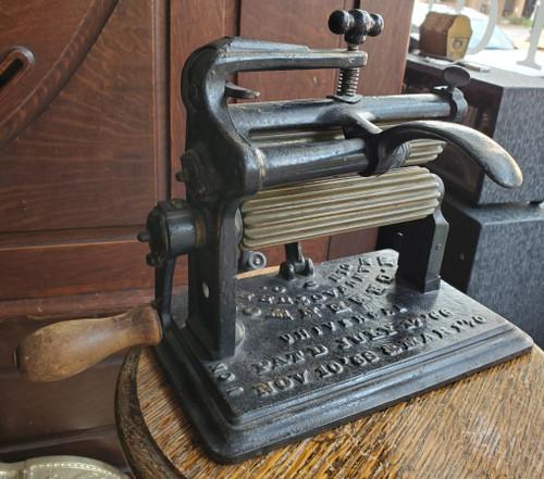 Antique Fluting Iron Crimper Pleating Hand Crank Cast Iron M Greenwood 1866