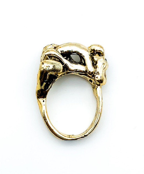 Vintage Gold Tone Erotica Couple Making Love Brutalist Ring Size 9.5