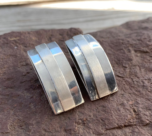 Vintage Mid Century Modernist Sterling Silver Arched Rectangle Clip On Earrings