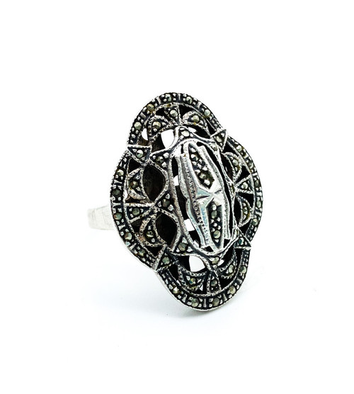 Antique Art Deco Sterling Silver Pave Marcasite Statement Ring Size 7.75