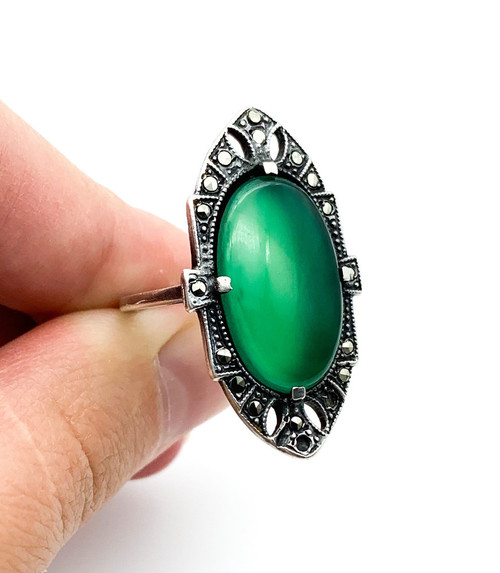 Antique Art Deco Sterling Silver Green Glass Cabochon Marcasite Ring Size  6.25