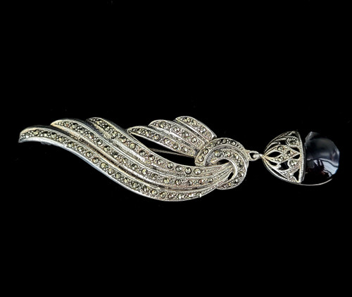 Vintage Art Deco Sterling Black Onyx Marcasite Wing Design Brooch Pin 4""