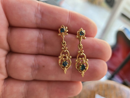 Antique 14k Yellow Gold Natural London Blue Topaz Unique Drop Dangle Earrings 1.25""