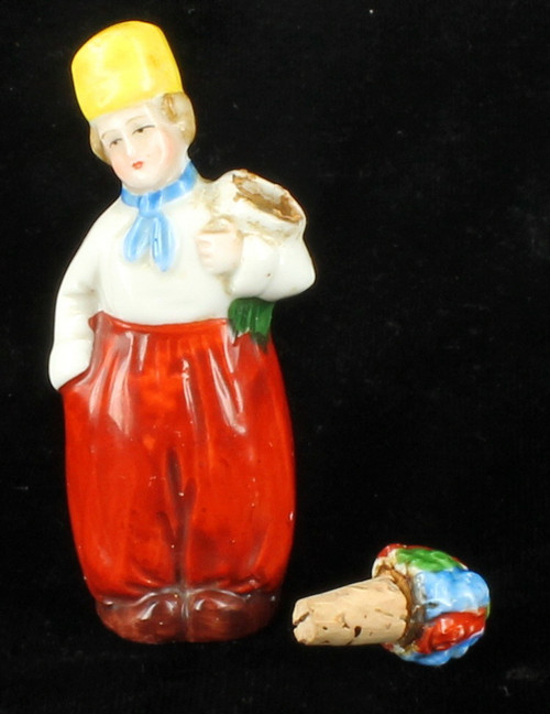 Antique Porcelain Figural Perfume Scent Bottle Dutch Boy Holding Flowers Germany