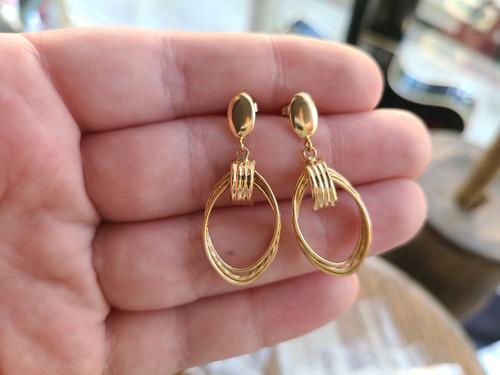 Vintage 14k Yellow Gold Twist Design Drop Dangle Post Back Earrings