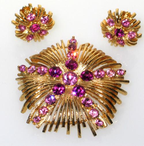 """Vintage Lisner 2 Tone Hot Pink Rhinestone Brooch Pin Clip Back Earrings Set 2"""""""