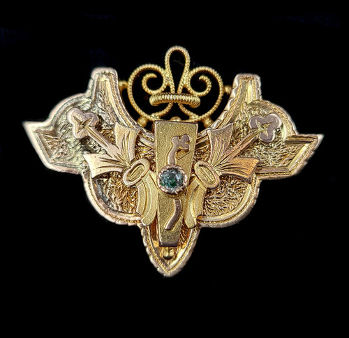 "Antique Victorian 14k Gold Diamond Ornate Textured Watch Fob Pin brooch 1"""