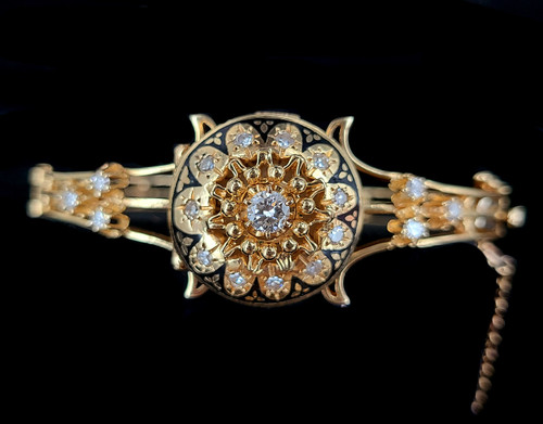 "Vintage Victorian Revival 14k Gold 1ct Diamond Enamel Watch Bangle Bracelet 6.25"""