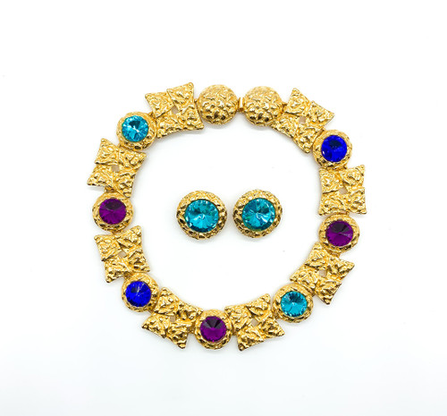 Vintage Duplaise Gold Tone Gem Colored Rhinestone Statement Earring Necklace Set