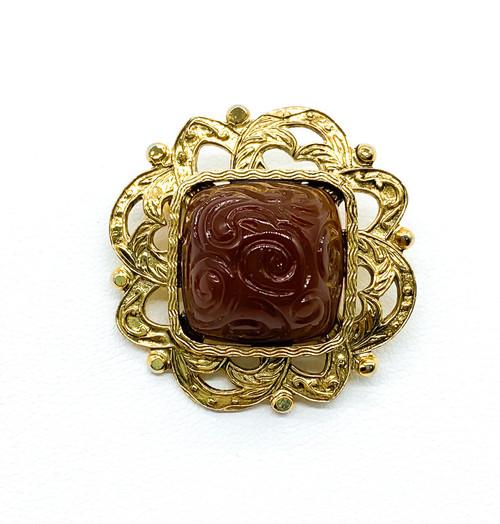 Vintage Gold Tone Carnelian Art Glass Sugarloaf Swirl Lace Pin Brooch
