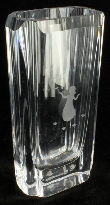 Vintage Mid-Century Swedish Skruf Crystal Thin Vase Intaglio Child Birds Sweden