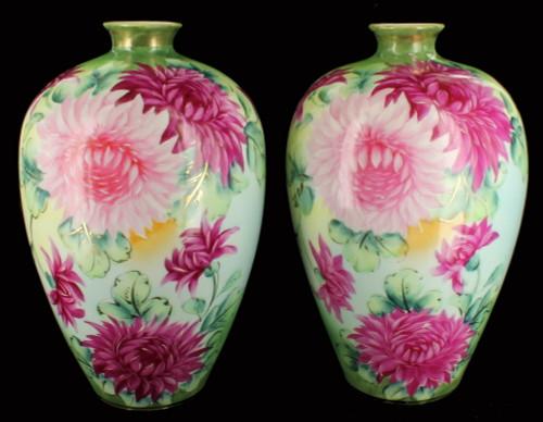 Rare Antique  Nippon IE&C Co Art Nouveau HP Pair Chrysanthemum Flowers Vases