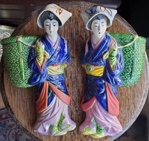 Vintage Pair Porcelain Banko Ware Wall Pocket Vase Japanese Peasant Women Figure