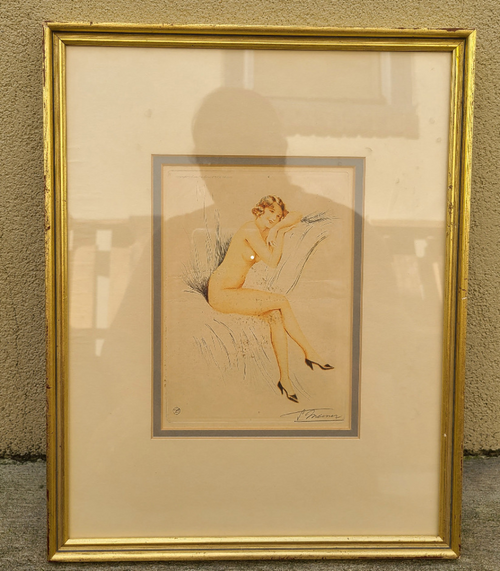Art Deco Suzanne Meunier 1888-1979 Signed Etching Nude Pose Pin Up Woman Framed -4