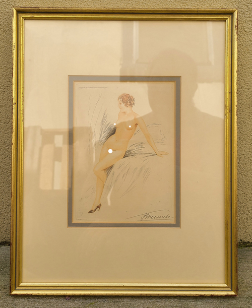 Art Deco Suzanne Meunier 1888-1979 Signed Etching Nude Pose Pin Up Woman Framed -3