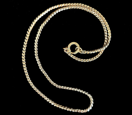 Antique Deco 12k GF Gold Filled Flat S-Chain with Engraved Clasp 16""